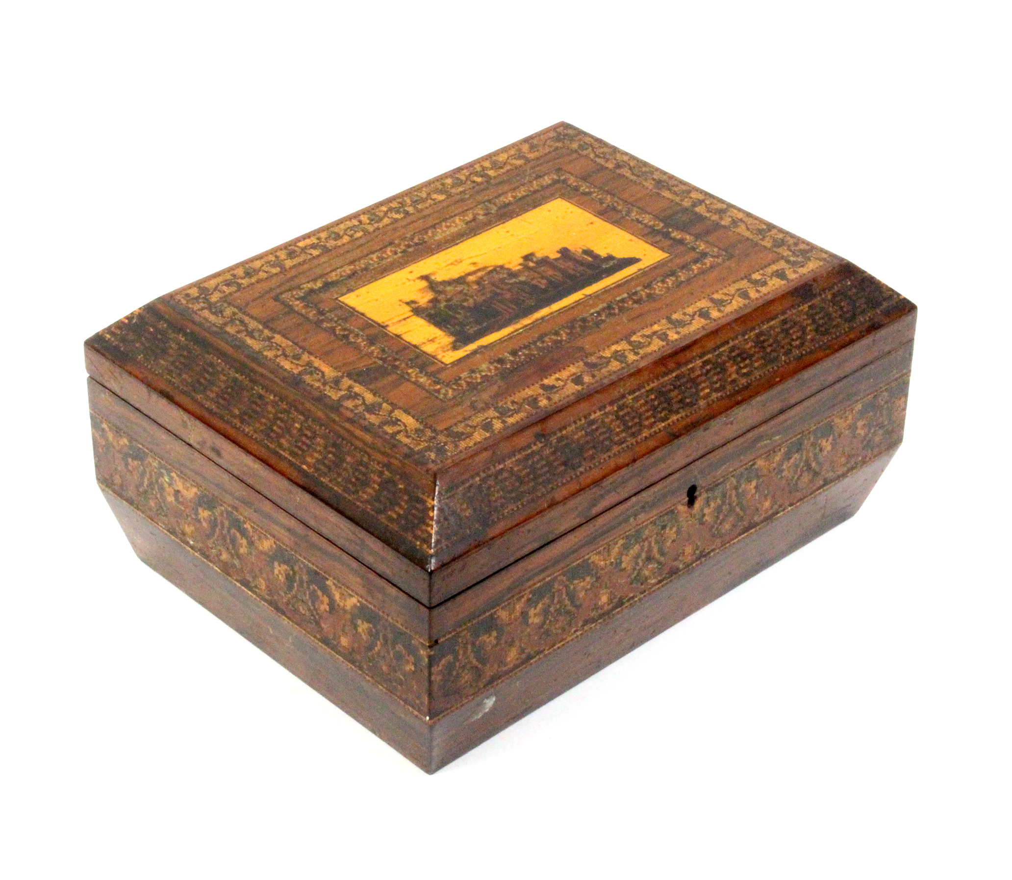 Lot 7 - A Tunbridge ware rosewood sewing box of sarcophagal form, the lid with a view of Eridge Castle