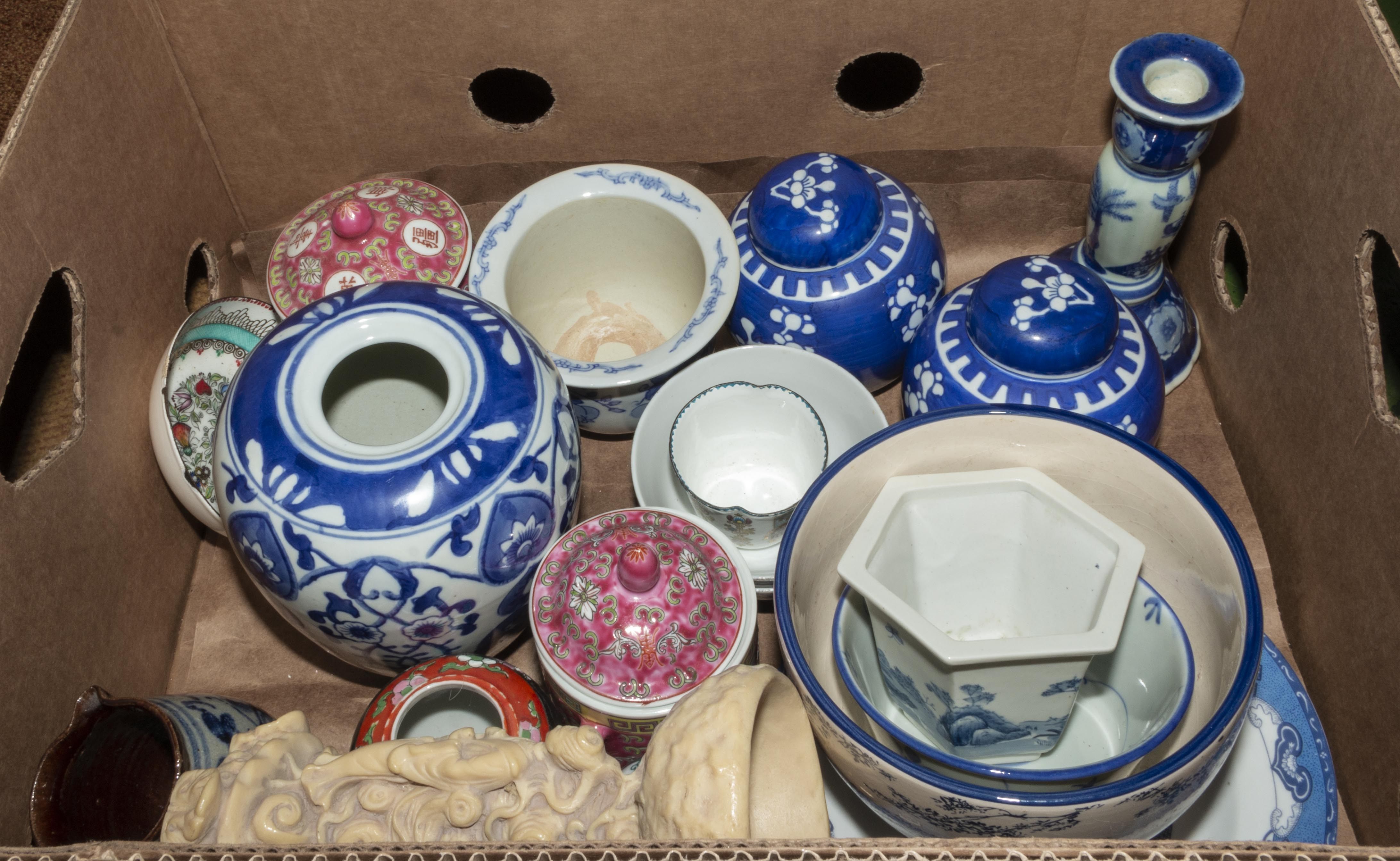 Lot 32 - A box containing Oriental style pottery