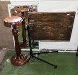 Lot 4 - A plant stand, mirror and a bedside table