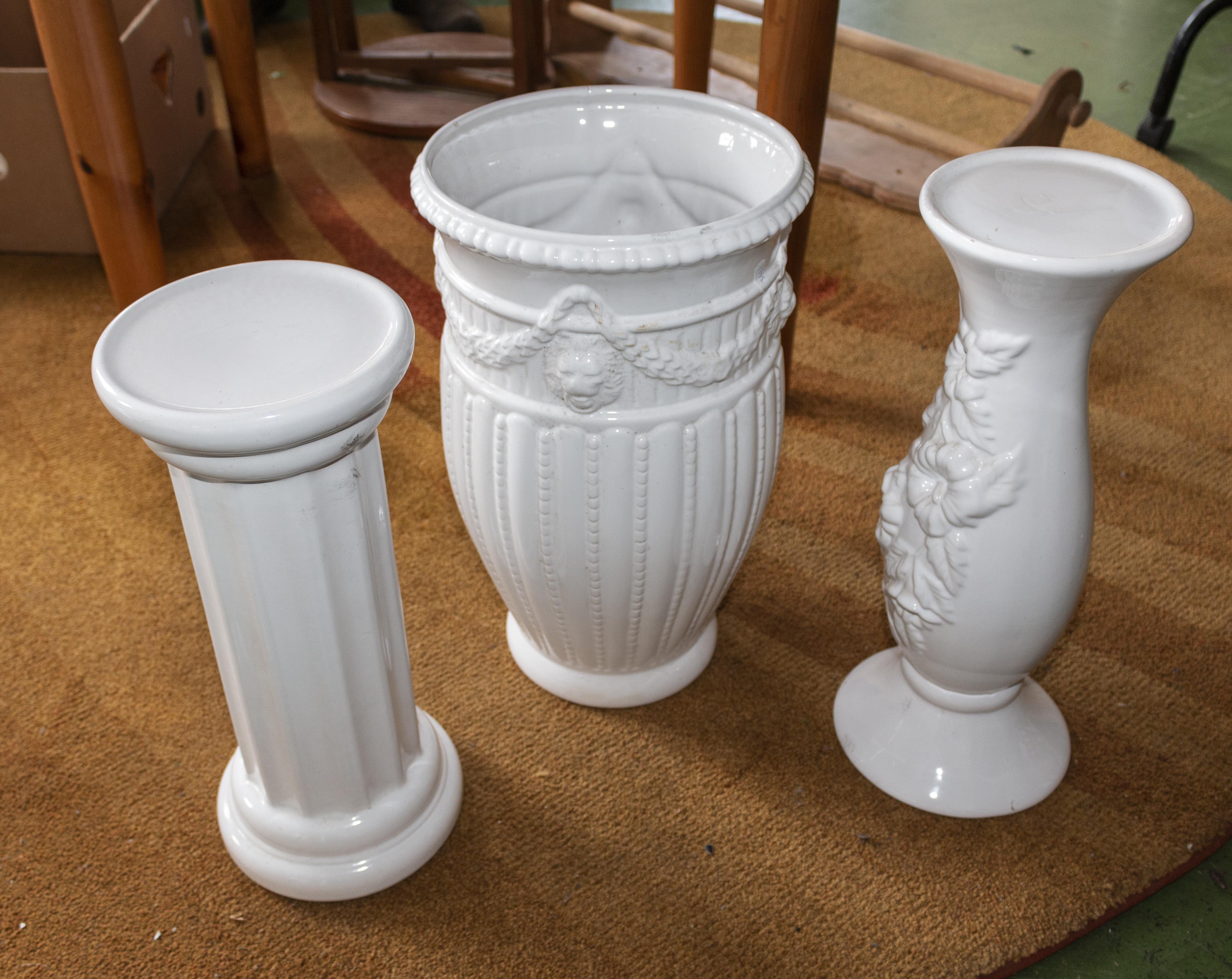 Lot 50 - Three white pottery garden pieces