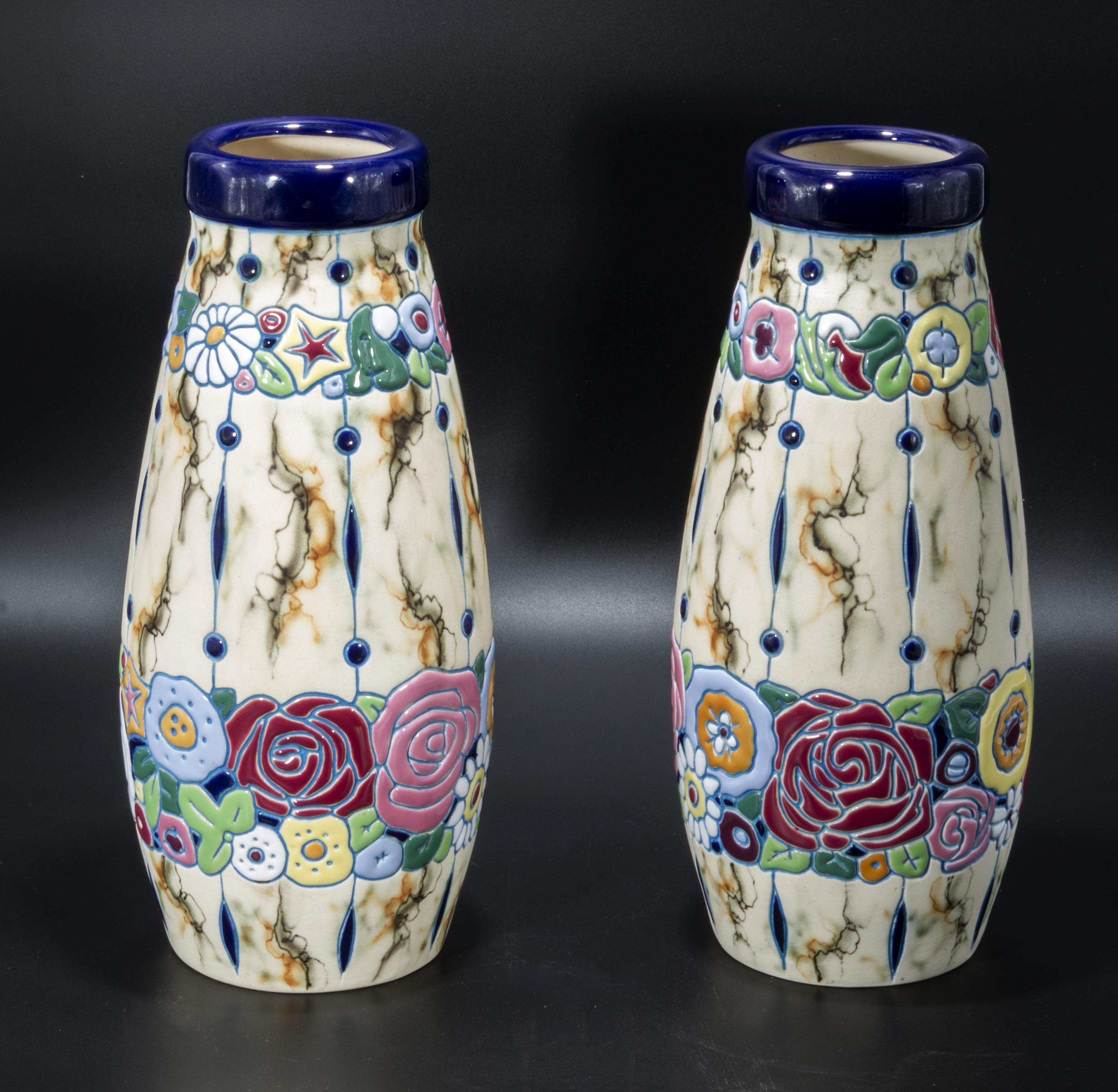 Lot 6 - A pair of Czechoslovakia vases