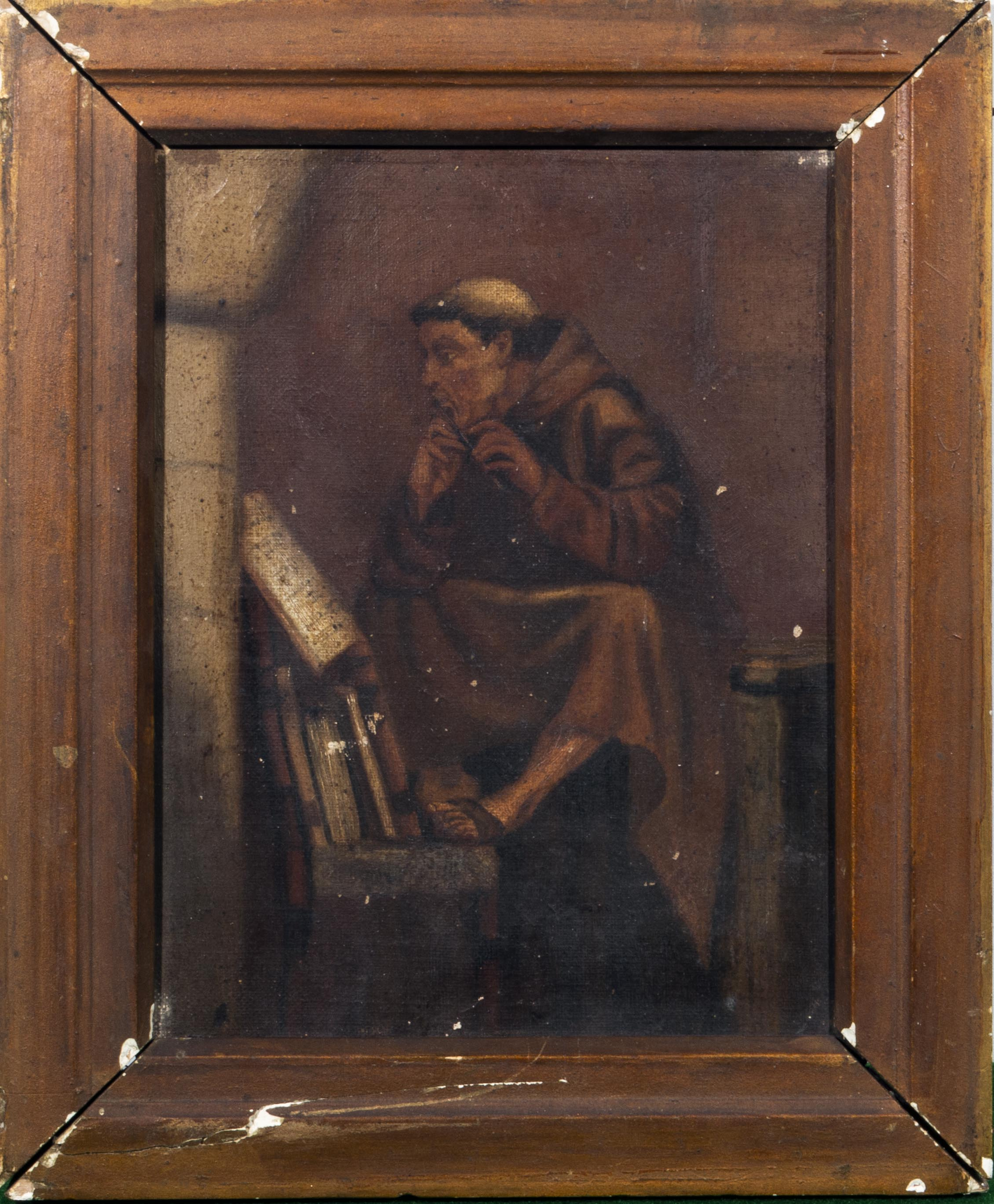 Lot 48 - An oil on canvas of a monk.10 by 9 inch.