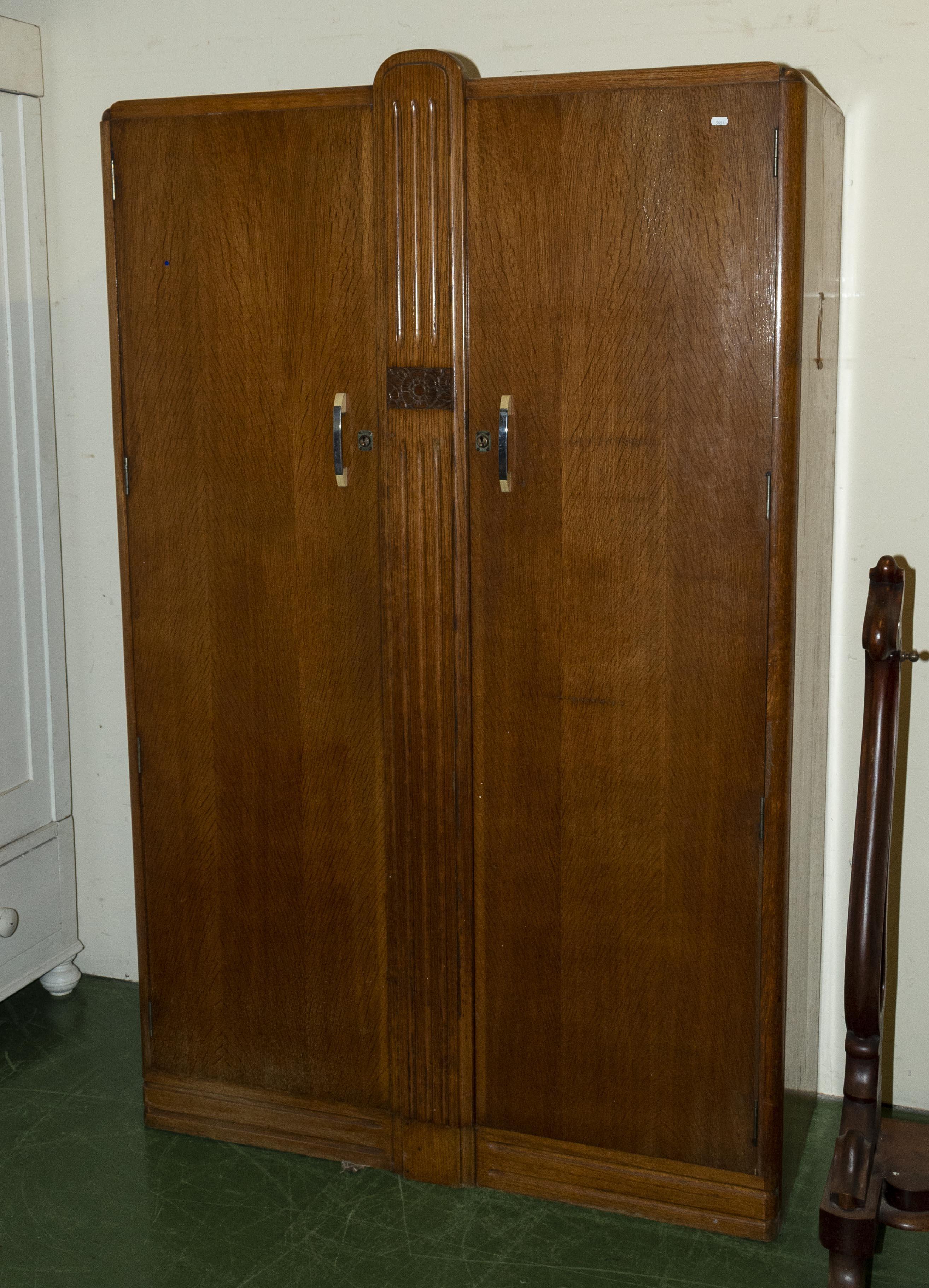 Lot 9 - An oak Deco wardrobe (matching lot 10)