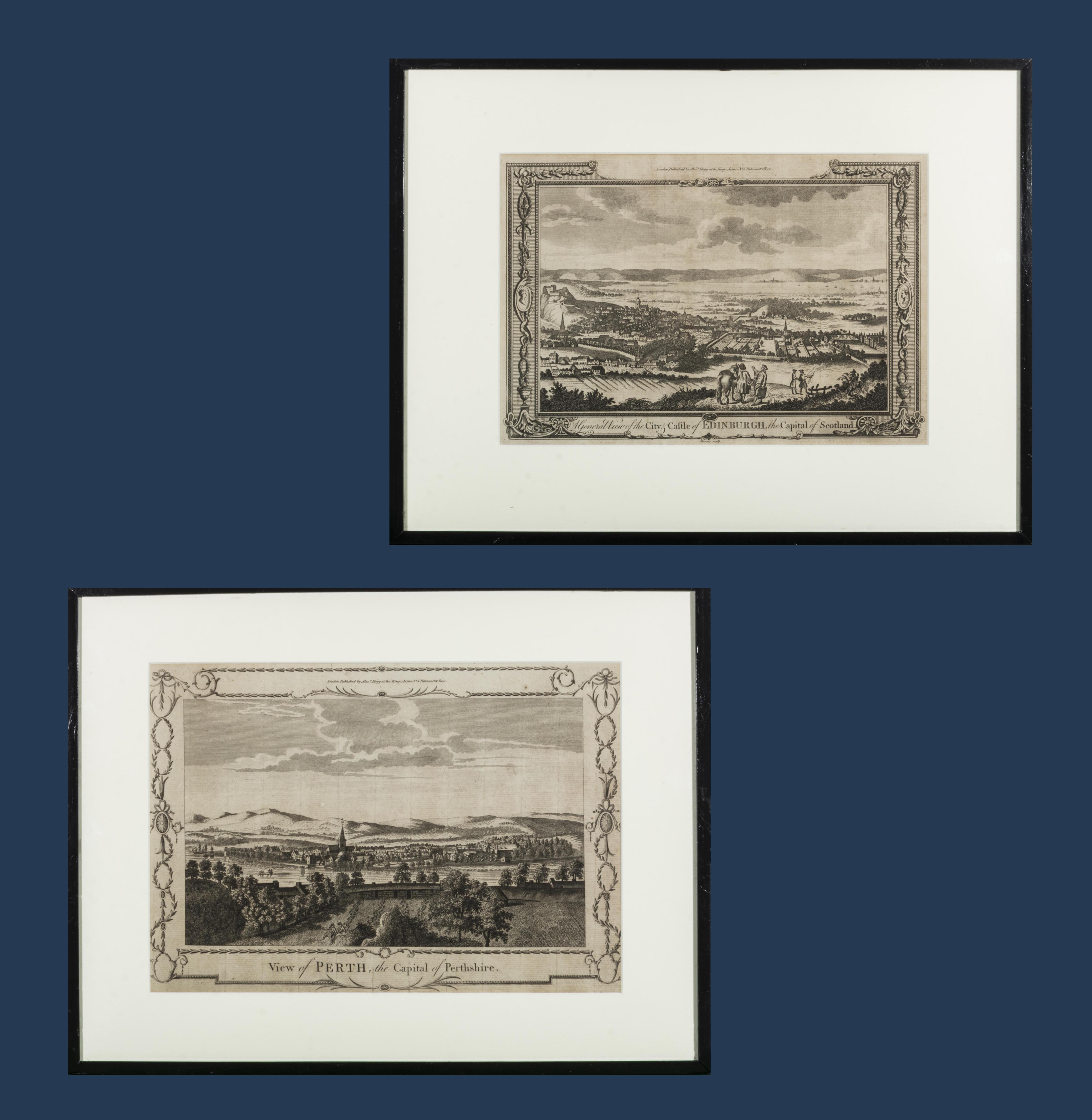 Lot 49 - A pair of early framed engravings depicting Edinburgh and Perthshire