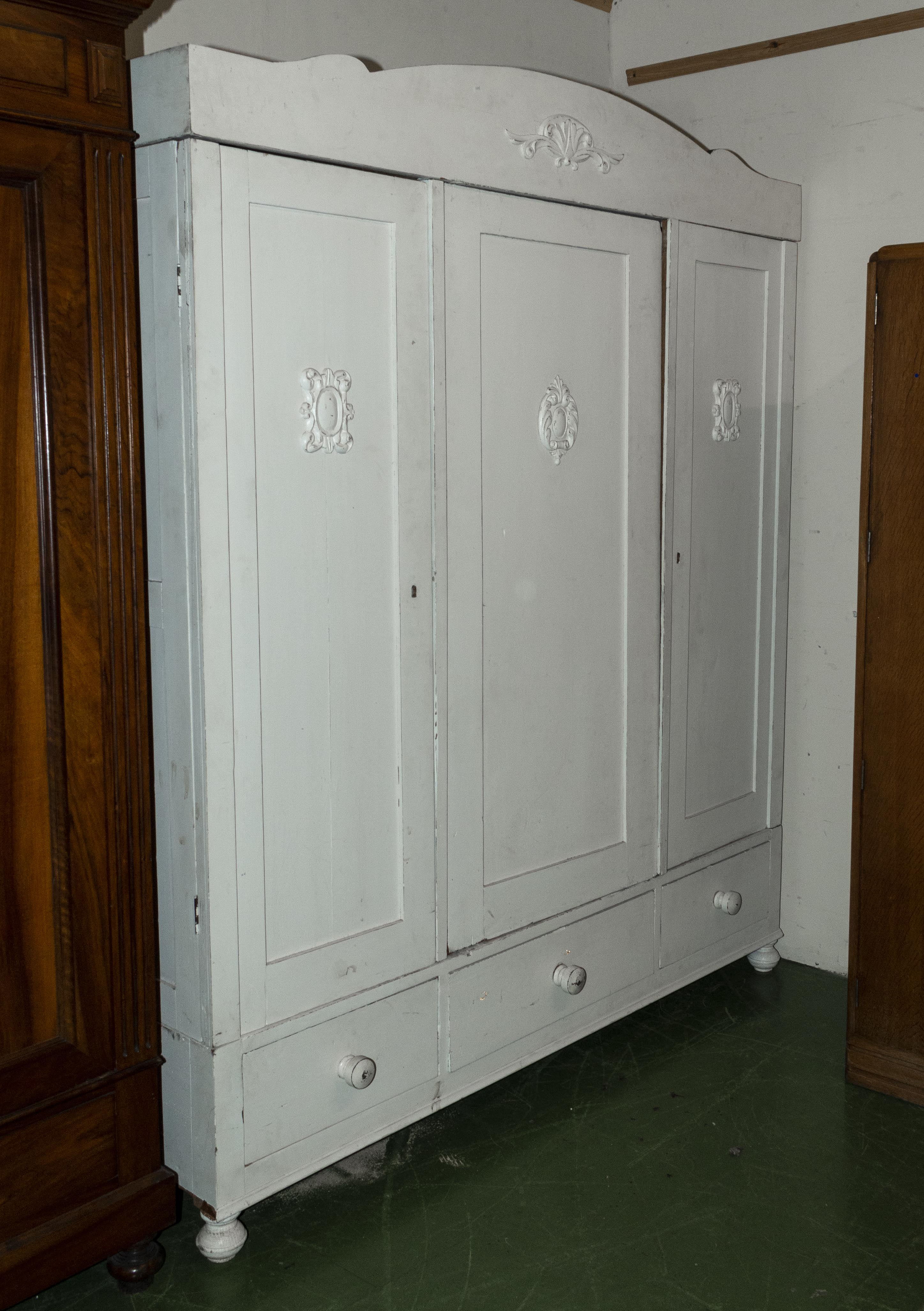 Lot 8 - A French painted wardrobe.