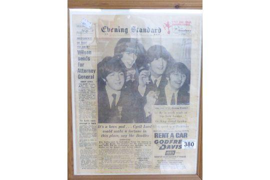 FRAMED & GLAZED NEWSPAPER ARTICLE REGARDING THE BEATLES ...