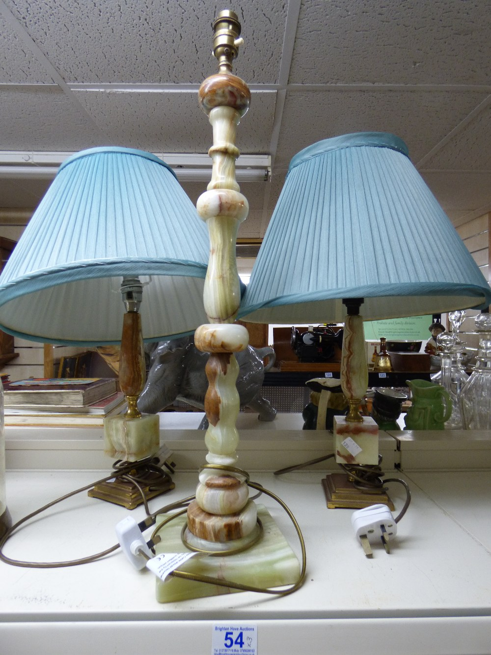 Lot 54 - 3 X ONXY LAMP BASES