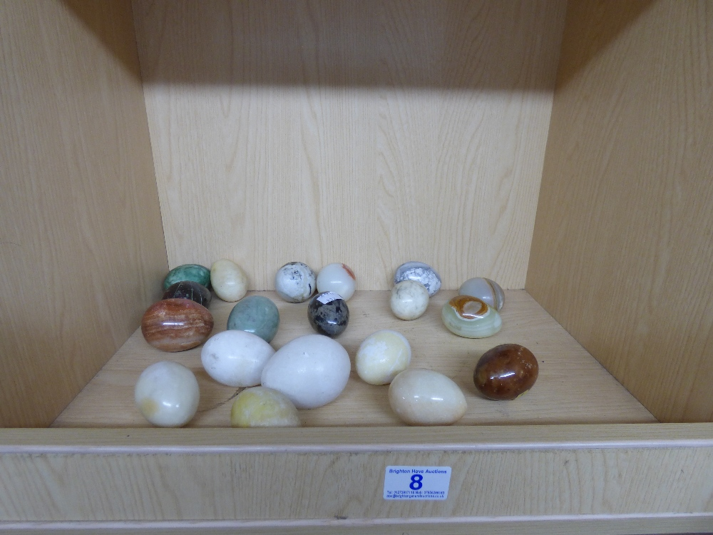Lot 8 - COLLECTION OF STONE EGG ORNAMENTS