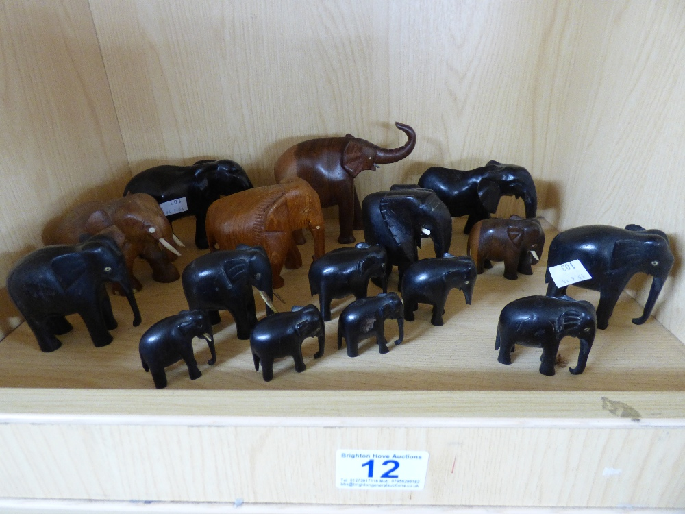 Lot 12 - QUANTITY OF AFRICAN STYLE WOODEN ELEPHANT FIGURES