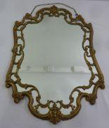 Lot 35 - An Ormolu Art Nouveau style shaped rectangular wall mirror