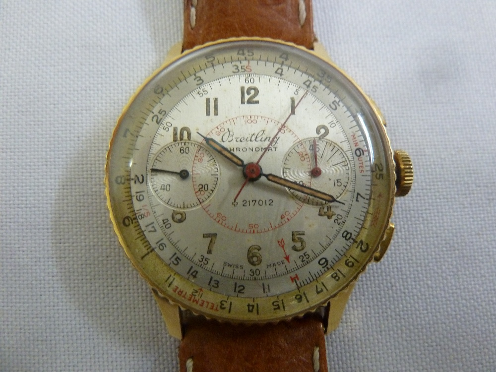 Lot 274 - Breitling Chronomat 18ct yellow gold chronograph, circa 1940 with two subsidiary dials