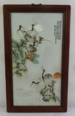 Lot 191 - A Chinese hand painted porcelain panel of birds and flowers in rectangular hardwood frame, 89.5 x