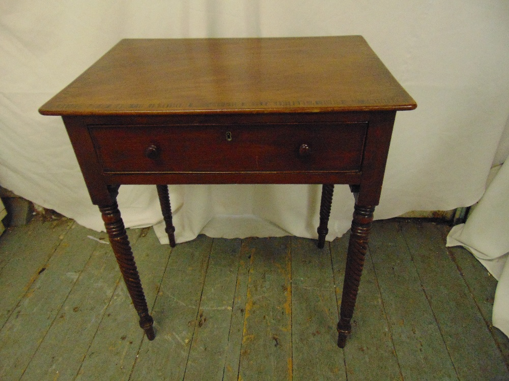 Lot 32 - A rectangular mahogany side table, cross banded, single drawer, barley twist carved legs