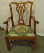Lot 44 - A George III mahogany childs chair with pierced splat, tapestry seat on four rectangular legs