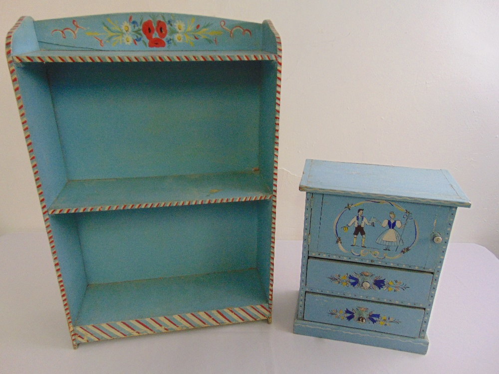 Lot 50 - A rectangular painted bookcase and miniature painted bedside cabinet