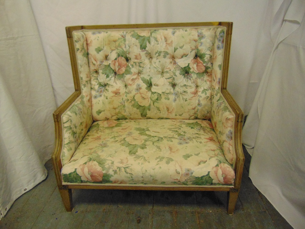 Lot 37 - A 19th century rectangular stained wooden upholstered two seater settle