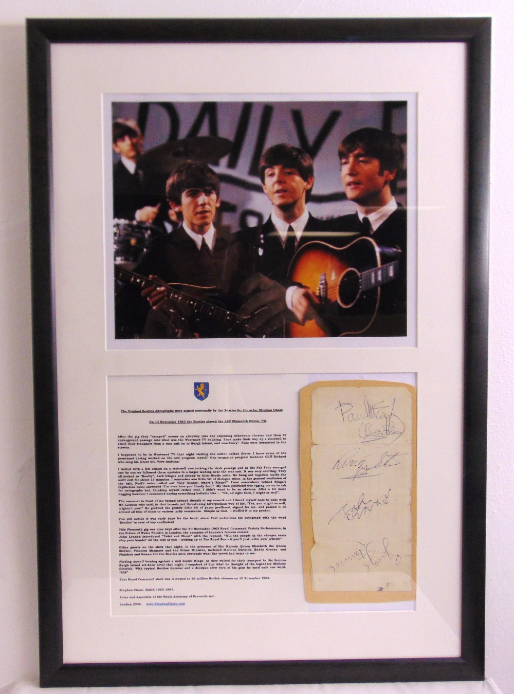 Lot 283 - The Beatles framed and glazed montage to include original signatures signed 13th November 1963 in