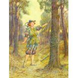 John Fullwood (1855-1931), watercolour, Girl Dress