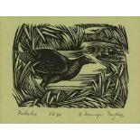 E Mervyn Taylor (1906-1964), woodblock print, Puke