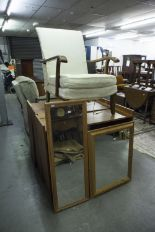 Lot 21 - THREE VARIOUS TEAKWOOD OPEN BOOKCASES, A CIRCA 1960's TWO TIER TEA TROLLEY AND TWO PINE FRAMED