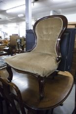 Lot 14 - VICTORIAN MOULDED WALNUTWOOD LADIES EASY CHAIR, the moulded, waisted, show-wood back above a