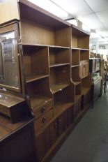 "Lot 40 - TWO TEAK SHELVING UNITS WITH CUPBOARD BASES, EACH 3'4"" WIDE, 6' HIGH"