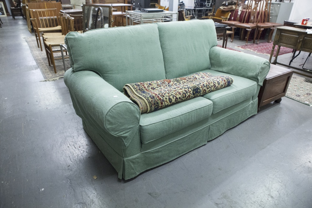 Lot 60 - A PAIR OF MULTIYORK SOFAS FROM THE INCA RANGE, IMMACULATE CONDITION WITH GREEN PATTERNED