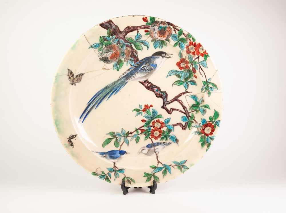 PAIR OF IMPRESSIVE LATE NINETEENTH CENTURY LARGE POTTERY WALL PLAQUES BY THEODORE DECK, each with