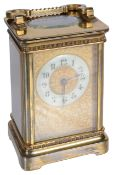 A Mappin & Webb London brass four glass carriage clock, late 19th/early 20th century