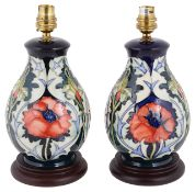 A pair of Moorcroft Rachel Bishop Poppy pattern table lamps, late 20th century