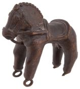 A Rajasthan bronze wheeled toy horse, early 19th century