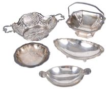 Four Continental silver bon bon dishes, late 19th/early 20th century