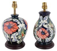 Two Moorcroft Rachel Bishop Poppy pattern table lamps, late 20th century