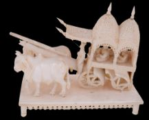 A late 19th century Indian carved ivory tableau of Mughal dignitaries