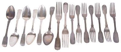 A collection of George III & William IV silver flatware by Joseph & Albert Savory