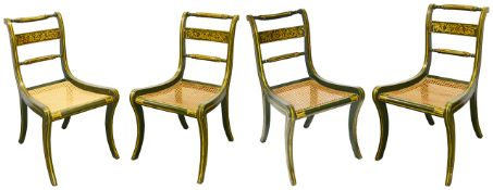 A set of four Regency dining chairs,