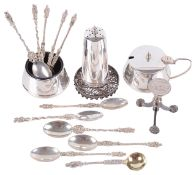 A collection of silver cruets, teaspoons and other silver ware