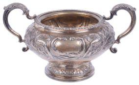 A George IV silver twin handled sugar bowl