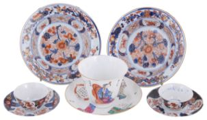 A pair of late 18th, early 19th Century Chinese Imari dishes and other Oriental ceramics,