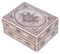 A delightful Georgian ivory patch box with gold and silver pique work