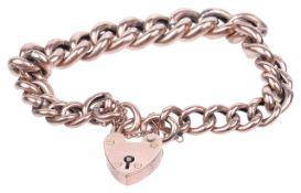A 9ct rose gold hollow curb link bracelet