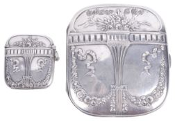 A German silver and silver gilt matching cigarette case and vesta