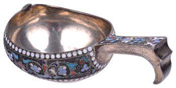 A Russian silver and enamel kovsh, hallmarked Moscow 1896 Aleksandr Vladislavoich Skovronsky