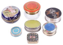 A collection of Edwardian and contemporary silver and enamel miniature pill boxes