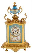 A French gilt bronze and porcelain mantle clock, late 19th century