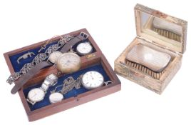 A silver gentlemans open faced pocket watch and further watches