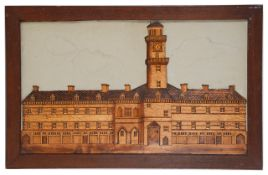 An interesting Victorian marquetry picture of The original Royal Exchange