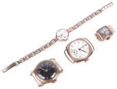 Three gold wristwatches,