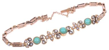 An attractive Edwardian turquoise and pearl set floral scroll bracelet