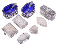 A selection of silver cruets, boxes, vestas and boxes